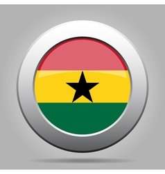 Metal button with flag of ghana vector