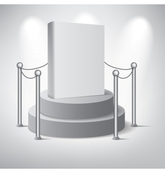 White podium on grey background vector image