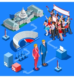 Election infographic us political isometric people vector