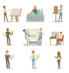 Architect profession series of vector