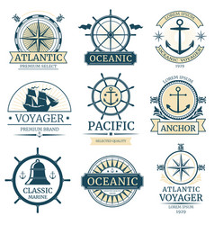 Retro nautical labels badges logos and vector