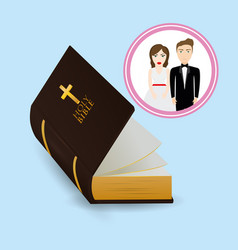 Get married couple bible card image vector