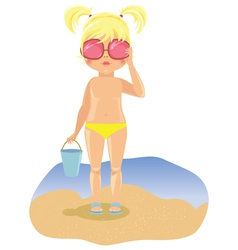 Girl in sunglasses on the beach vector