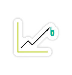 Stylish sticker on paper economic graph on a white vector