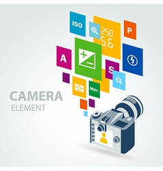 Photo camera element icons vector