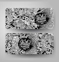 cartoon hand drawn doodles india banners vector image