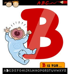 letter b with baby cartoon vector image