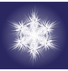 Spiky white snowflake on dark background vector