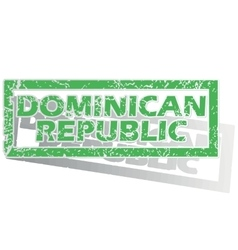 Green outlined dominican republic stamp vector