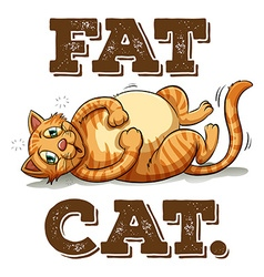 Fat cat with text vector