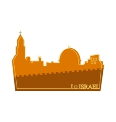 View on the landmarks of jerusalem old city vector