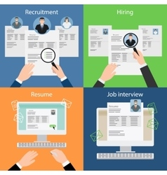 Hiring recruiting resume and interview vector