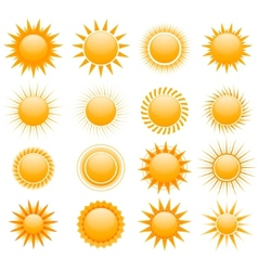 suns icons collection vector image