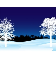 Winter landscape in the night vector