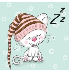 Sleeping cute kitten vector