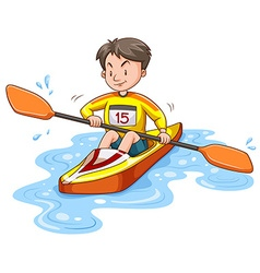 Man doing kayaking alone vector