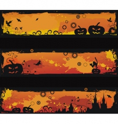 Three grunge halloween banners vector