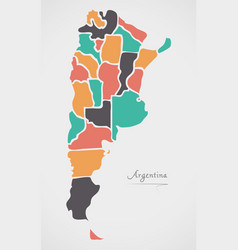 Argentina map with states and modern round shapes vector