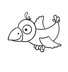 Awesome cartoon little flying bird crow vector