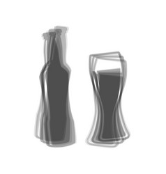 Beer bottle sign gray icon shaked at vector