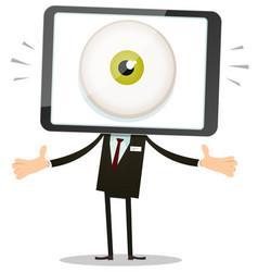 big brother eye in mobile phone head vector image vector image