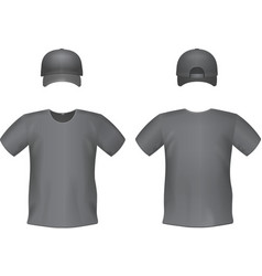 Black t-shirts and baseball cap template vector image