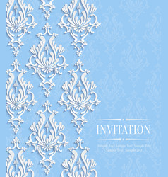Blue vintage invitation card with floral vector