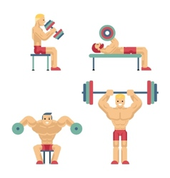 Bodybuilding and Weightlifting Icons in Flat Style vector image vector image