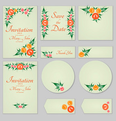 Collection greeting cards with stylized orange vector