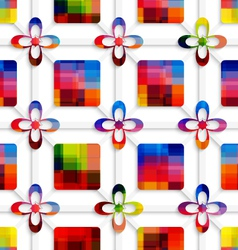 Colorful squares and colorful flowers on net vector image vector image