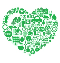 Eco heart background - green ecology vector image vector image