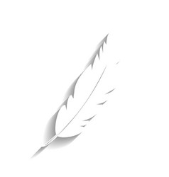 Feather sign white icon with vector