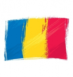 grunge Romania flag vector image vector image