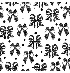 Hand-drawn doodle seamless pattern with bows vector