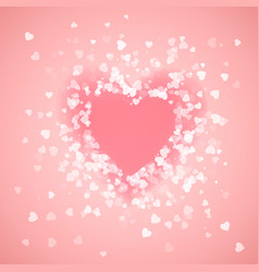 heart shape pink confetti splash with pink heart vector image