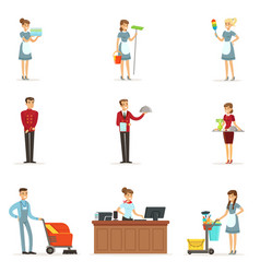 Hotel staff set for label design colorful cartoon vector