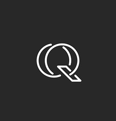 Letter Q logo monogram mockup outline emblem for vector image