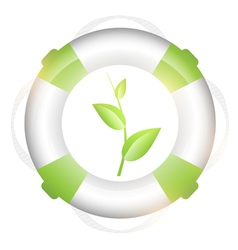 lifebuoy with green sprout vector image