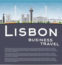 Lisbon city skyline with grey buildings vector image