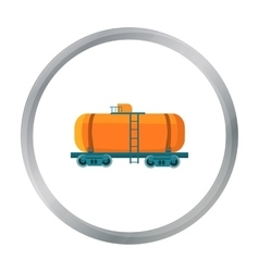 Oil tank car icon in cartoon style isolated on vector