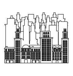 Outline buildings and cityscape scene icon vector