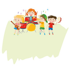 Paper template with children in the band vector