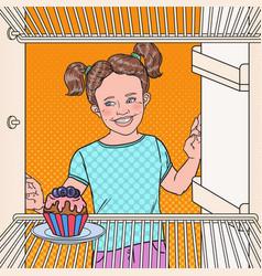 Pop art little girl sees tasty cake in the fridge vector