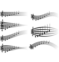 set musical staff various musical notes on stave vector image vector image