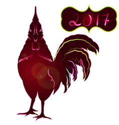 Sparkling red rooster full face symbol 2017 by vector