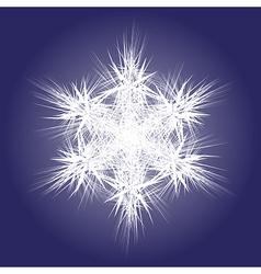 Spiky white snowflake on dark background vector