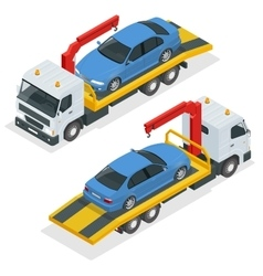 Tow truck isometric Car towing truck 3d vector image
