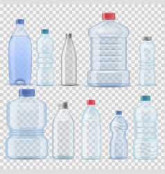 Transparent water plastic clean bottle 3d vector