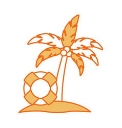 Tree palm with float summer icon vector