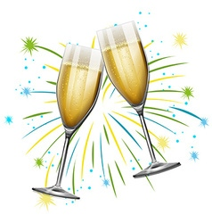 Two glasses of champagne with firework background vector image